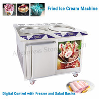 Double Pans 55CM Fried Ice Cream Machine 6 Buckets Ice Cream Roll Maker Commercial Stainless Steel