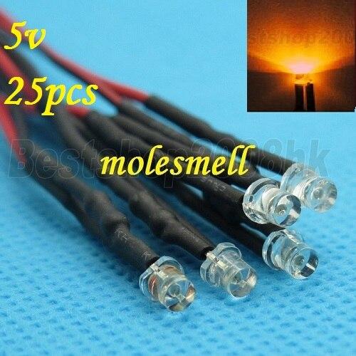 Free Shipping 25pcs 3mm 5v Flat Top Orange LED Lamp Light Set Pre-Wired 3mm 5V DC Wired 3mm Big/wide Angle Orange 5v Led