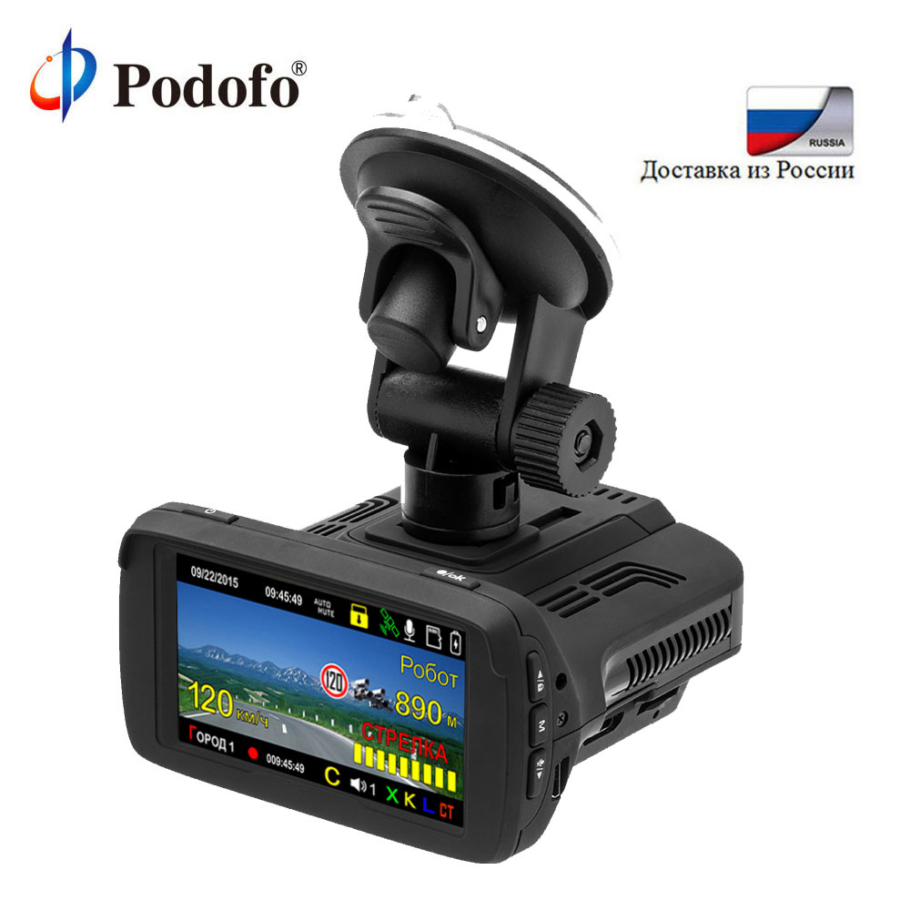 Podofo Ambarella Car DVR Camear Radar Detector Gps 3 in 1 LDWS Video Recorder Registrar HD 1080P Dash Cam Russian Language ...