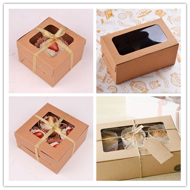 539f8cb365ea Wholesale 100PCS LOT Kraft Color No Printing 1 2 4 6PCS Cup Cake Box Accept  Personality LOGO