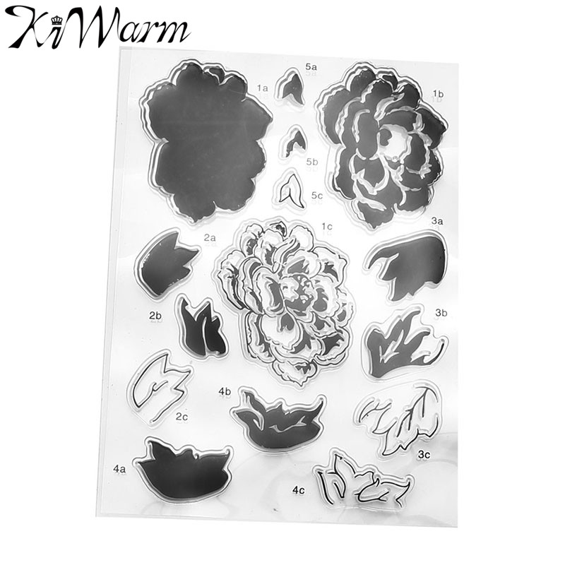 KiWarm Flowers and Leaves Transparent Clear Silicone Stamp Seal for DIY Scrapbooking Photo Album Decorative Clear Stamp Sheets flowers and lace design transparent clear silicone stamp seal for diy scrapbooking photo album wedding gift cl 083