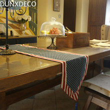 DUNXDECO Table Runner Linen Cotton Jacquard Tablecloth Vintage Blue White Dot Red Stripe Bar Coffee Store Cover Fabric Decor