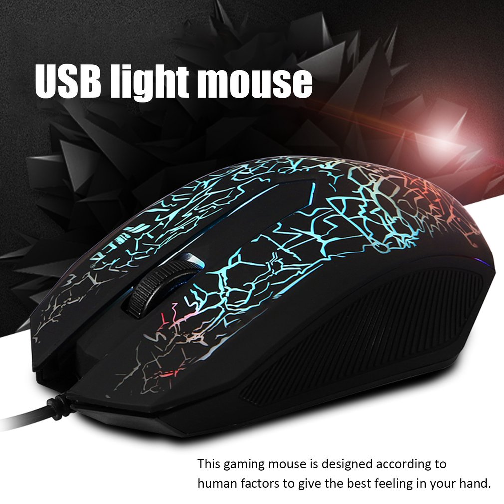 Professional Colorful Backlight 4000DPI Optical Wired Gaming Mouse Mice 3 Buttons USB Wired Luminous Mouse drop shipping in Mice from Computer Office