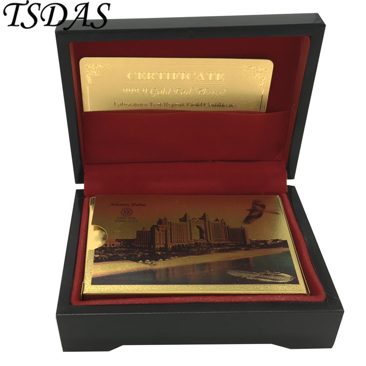 Christmas Gifts Gold Playing Cards Colorful Dubai Atlantis Hotel Design Gold Poker Card With Black Wooden Box Packing