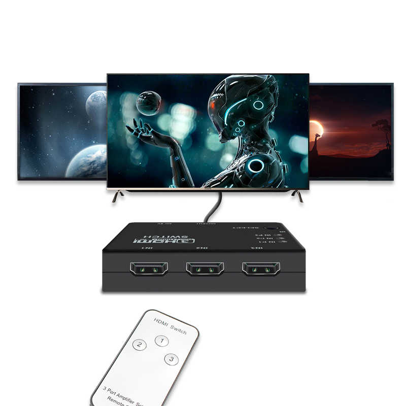 3x1 HDMI Splitter 3 Ports 1080P Video HDMI Switch Switcher HDMI Splitter with Remote Splitter Box HDMI Adapter for HDTV DVD PS3