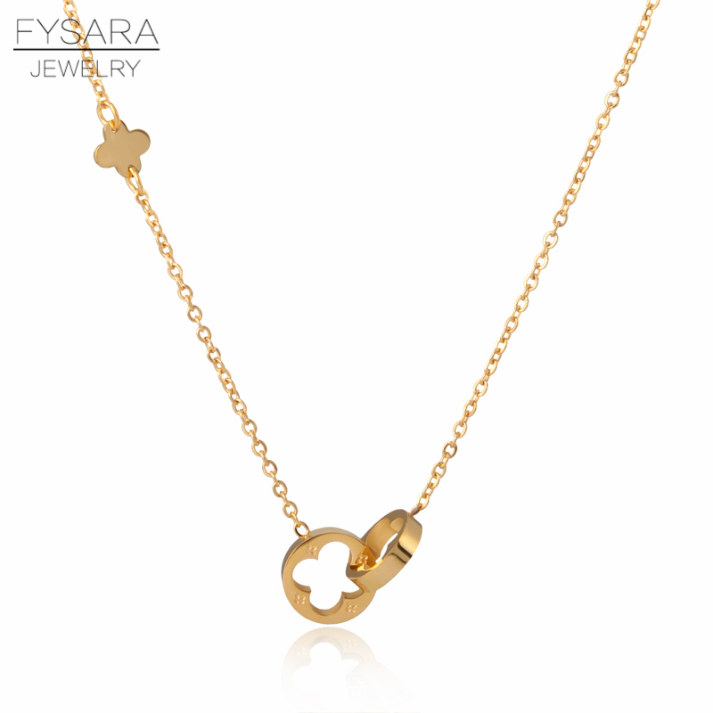 FYSARA Classic Brand Love Two Circle Double Buckle Necklace Roman Numeral Flower Clover Necklace Stainless Steel Gold Clavicle lingerie top