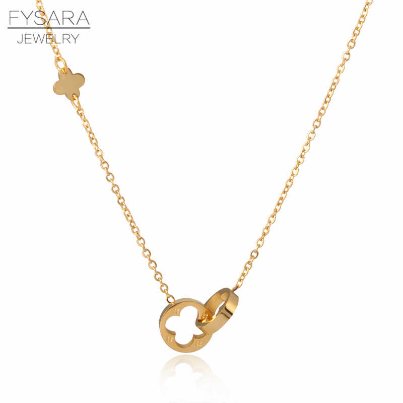 FYSARA Classic Brand Love Two Circle Double Buckle Necklace Roman Numeral Flower Clover Necklace Stainless Steel Gold Clavicle