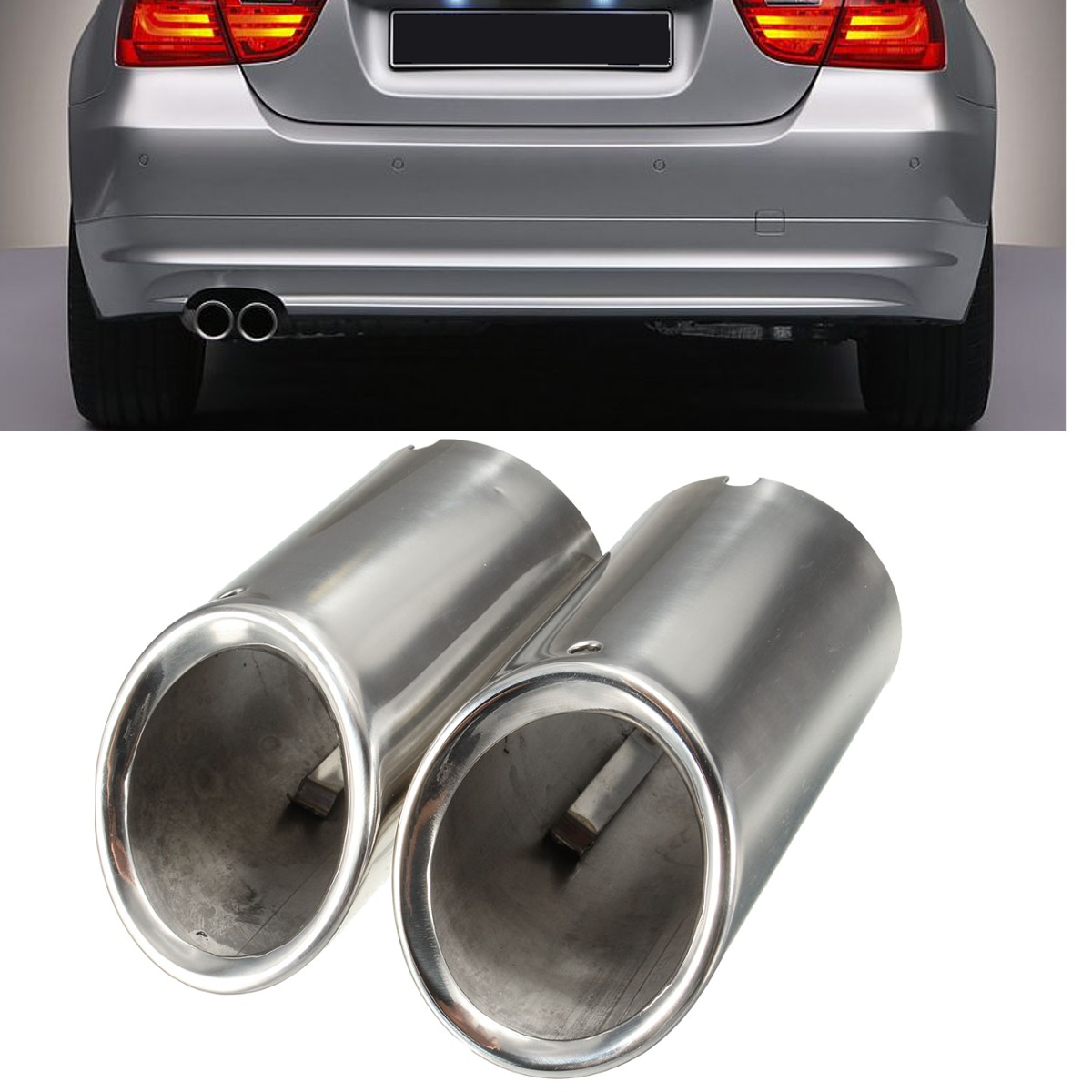 2 unids silenciador de escape punta cromo para BMW E90 E92 325i 328i 3 series 2006-2010
