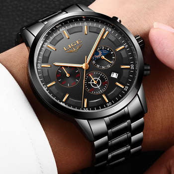LIGE Watch Men Sport Quartz stainless steel Mens Watches Brand Luxury Waterproof Business Black WristWatch Relogio Masculino+Box 2019 megir masculino watches men fashion sport stainless steel case leather band watch quartz business wristwatch reloj hombre
