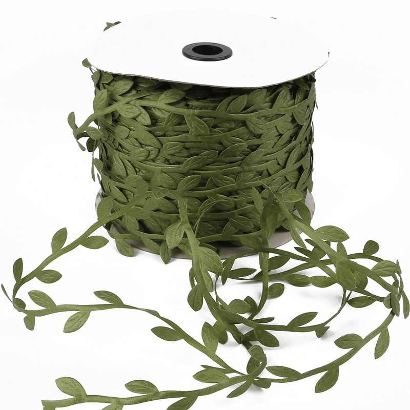 Feuilles vertes artificielles en forme de feuille de soie 10M   Guirlande décorative tissée pour emballage cadeau, fête de mariage rustique, pour la maison