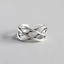 HFYK 925 Sterling Silver Ring 2019 Retro Hollow Weaving For Women Open Jewelry bague femme anillos