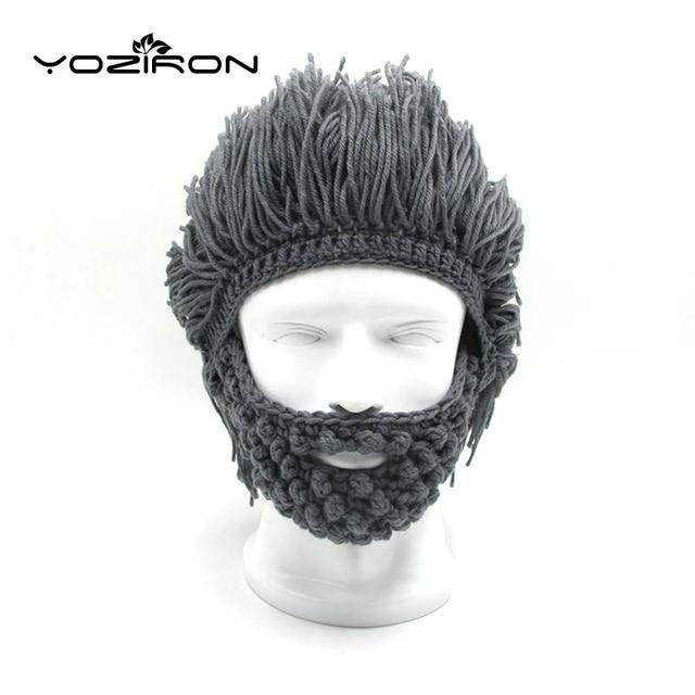 e4c7282d6fa62 Handmade Beard Wig Winter Beanie Hat Hobo Mad Scientist Caveman Knitted Caps  Men Women Halloween Gifts Ski Mask