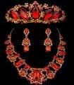 Благородный красное австрийский хрусталь ювелирные изделия великолепная капли воды цветочный корона тиара серьги ожерелья свадебных украшений платье ZM21