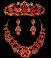 Noble Red cristal austríaco jóias de casamento lindo gota de água Floral Crown Tiara colar brinco Set jóias nupcial vestido ZM21