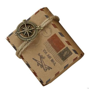100 pcs Vintage Favors Kraft Paper Candy Box Travel Theme Airplane Air Mail Gift Packaging Boxes Wedding Souvenirs scatole regal