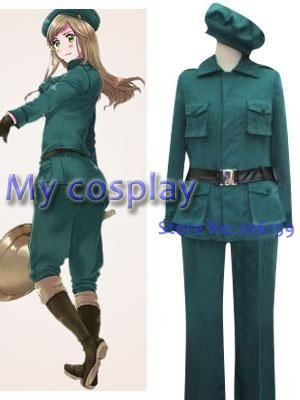 Anime Hetalia Axis Powers Hungary Uniform Female Cosplay Costume High Quality Women Green Uniform Clothing Halloween Costumes
