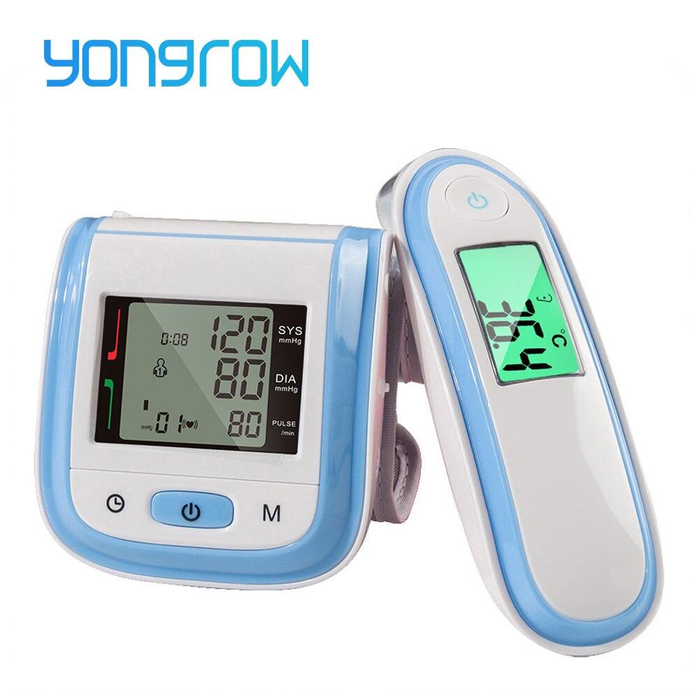 Yongrow Monitor di Pressione Sanguigna Sfigmomanometro Digitale A Infrarossi Orecchio Termometro Tonometro Monitor di Pressione Sanguigna del Polso