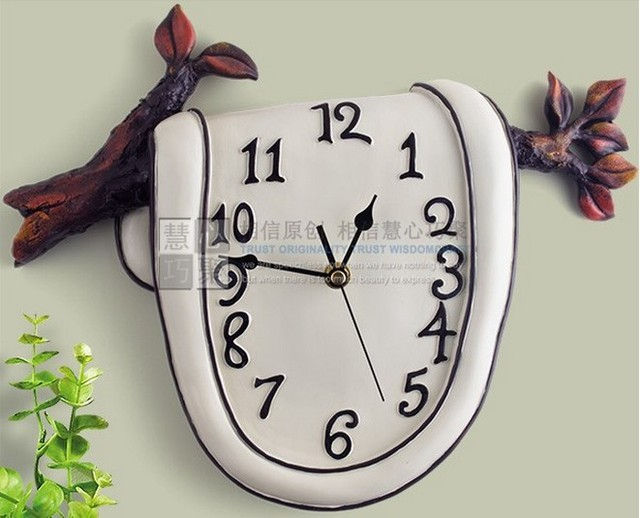 032197 FREE SHIPPING Resin Wall Clock Fashion Style Unique Mute Branch Garden Design Bedroom Living Room Decor