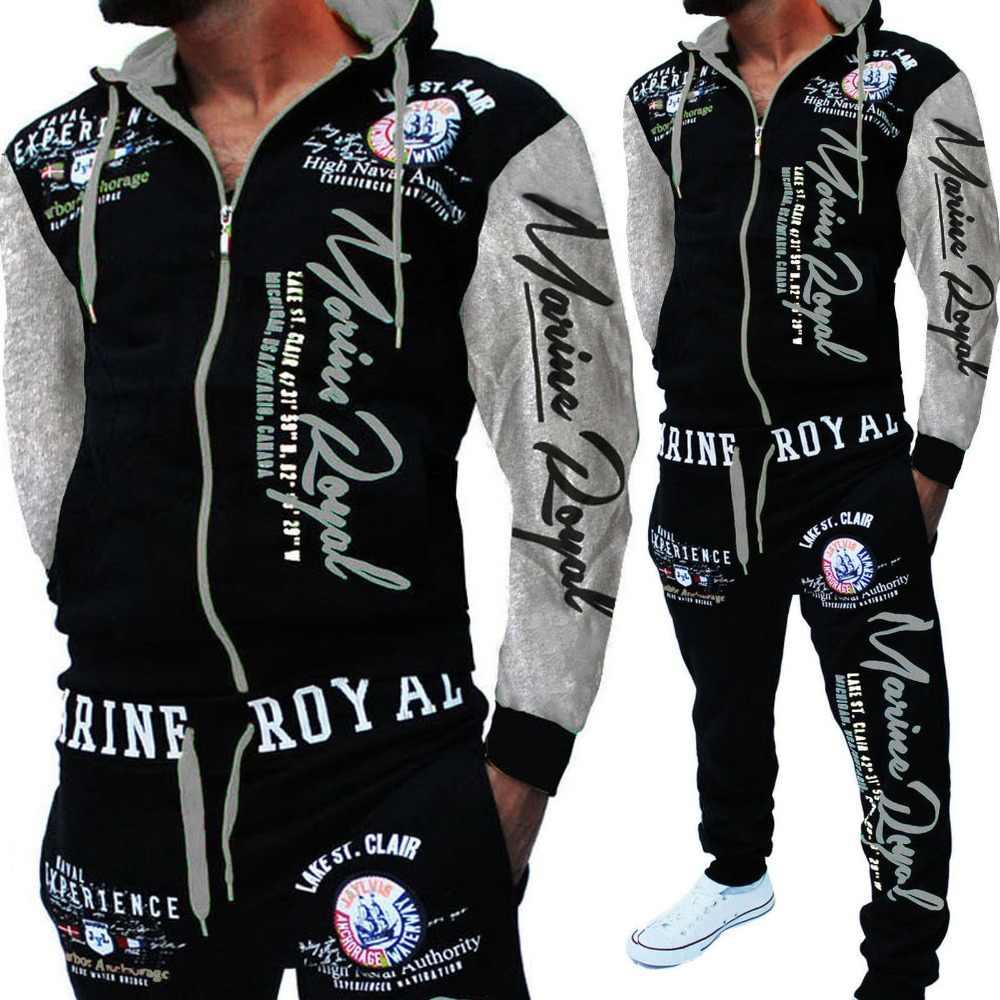 Homens Jaqueta Com Capuz Sweatsuit Track Suit Ternos Esportes Dos Homens brand New Homens Jogger Sportwear Conjunto Impresso Homens Treino Roupas 2019