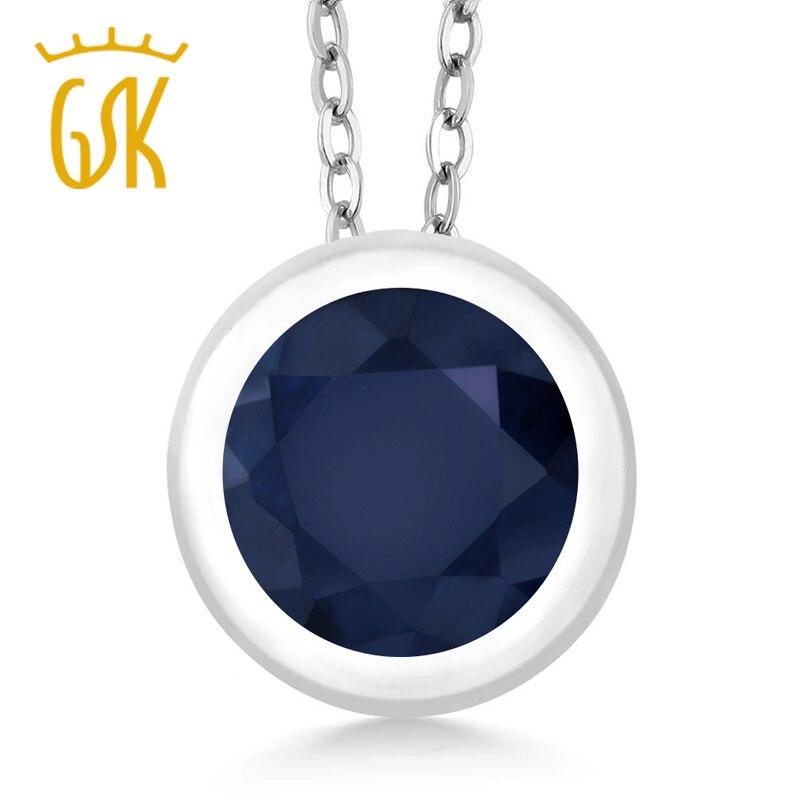 GemStoneKing 1.00 Ct Round Natural Blue Sapphire Fine Jewelry 925 Sterling Silver Gemstone Pendant Necklace For Women