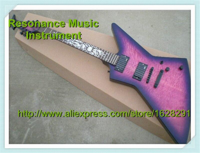 Vente en gros et au détail incrustation de flammes solaires guitare pourpre Vintage Ken Lawrence Suneye Explorer guitare électrique et Kits disponibles