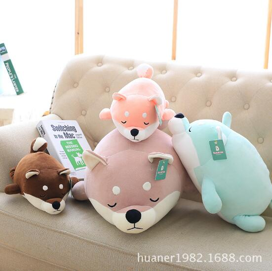 65cm Feather cotton soft Shiba Inu doll lying prone dog plush toys children sleeping pillow doll girl gifts cartoon dog plush pillow shiba inu toys for children gift contain plush flannel blanket bedroom cushion