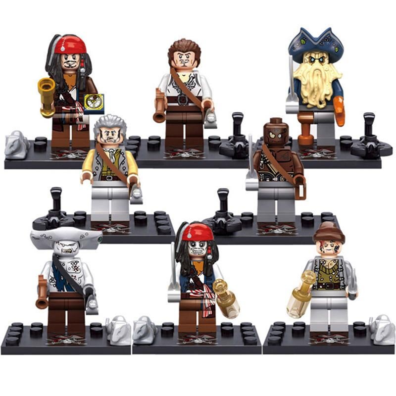 8pcs/lot Pirates Of The Caribbean Figures Building Blocks Kids Toys For Children Boys Gifts Compatible With Legoe Pirates