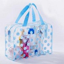 Transparent Waterproof Dot Cosmetic Bag Handbag Zipper Dust-Proof Mak Up Portable Storage Bath Travel Make Case Neceser