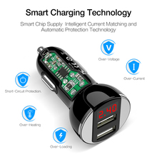 RAXFLY Dual USB Car Charger For Samsung Xiaomi Phone Chargers 5V/2.4A Smart Digital Car-charger For iPhone iPad Universal Charge