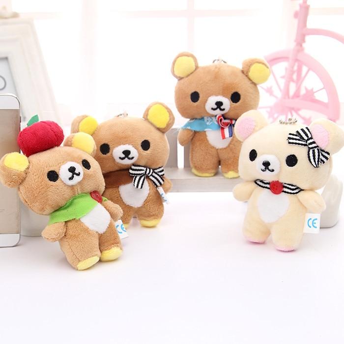 6pcs/Set Kawaii Standing 10CM Lover Rilakkuma Bear Plush Stuffed TOY Soft Figure DOLL Key Chain Design BAG Pendant Charm TOY