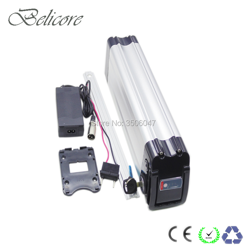 Eu US No Tax Bottom Discharge Silver Fish 36V 10ah Ebike Lithium Battery Pack With Charger For 250W Electric Bicycle