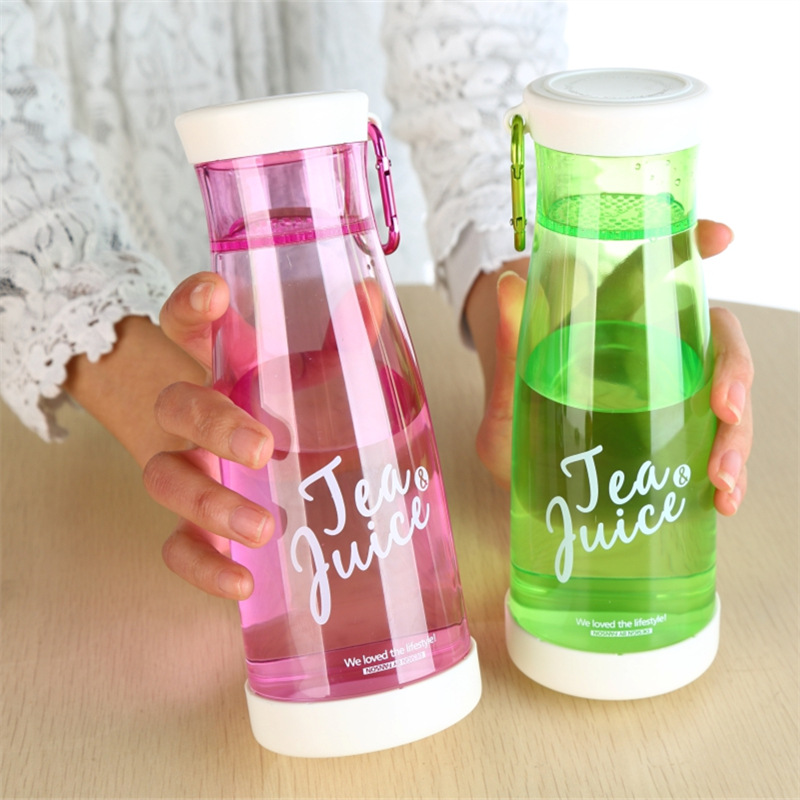 450ml Water Bottles Candy Color with Tea Infuser Buckle for Fruit Juice Tea Water Glass Bottle Outdoor Sport Climbing Camp Tour