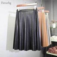 Women S Vintage High Waist Faux Leather Midi Skirt 2016 Ladies Casual Elastic Waist Pleated Skirts