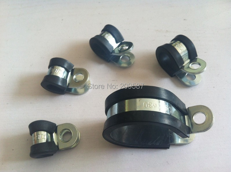 Lot10 14mm Zinc Plated Rubber Insulated Cushinoned Cable Wire Fuel Clamps Clips