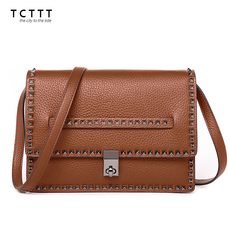 TCTTT Luxury designer Shoulder bags Genuine leather women Crossbody Handbags Rivet style  Messenger bag Clutch Bolsas Feminina sunmejoy fashion ribbons handbags designer women bag crossbody bags rivet shoulder bags embroidered floral women messenger bag