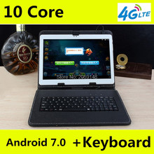 Tablets 10 inch 4G LTE Tablets Deca Core Android 7.0 RAM 4GB ROM 128GB Dual SIM Cards 1920*1200 IPS HD 10.1 inch Tablet PCs+Gifs