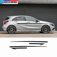 Car Body Stickers For Mercedes-Benz A/B class W176 W246 Sport Speed Stripes Waist Lines Decals Auto Accessories Waterproof