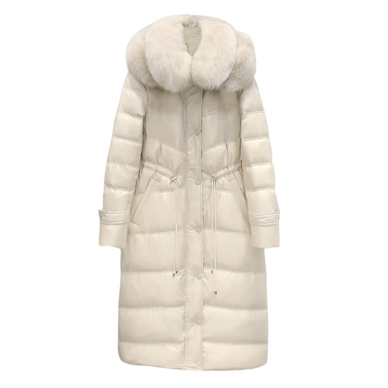 Shiny   Down   Jacket Women Winter   Down     Coat   Winter Hooded Fox Fur Jackets Female Fashion Warm Women's Outwear 2019 NEW PINK