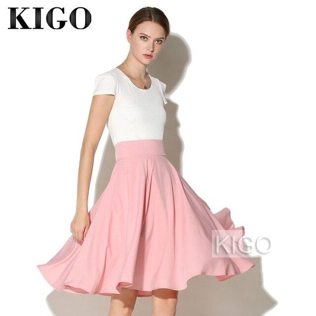 3299599a1d Kigo verão retro mulheres de cintura alta vintage saia queimado elegante  big balanço saia midi skater