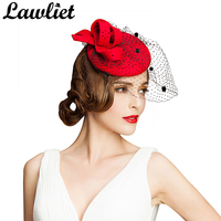 Women Fascinator Hat Autumn Winter Hollow Veil Wool Felt Women Cocktail Formal Dress Hats Wedding Hats Hair Accessories