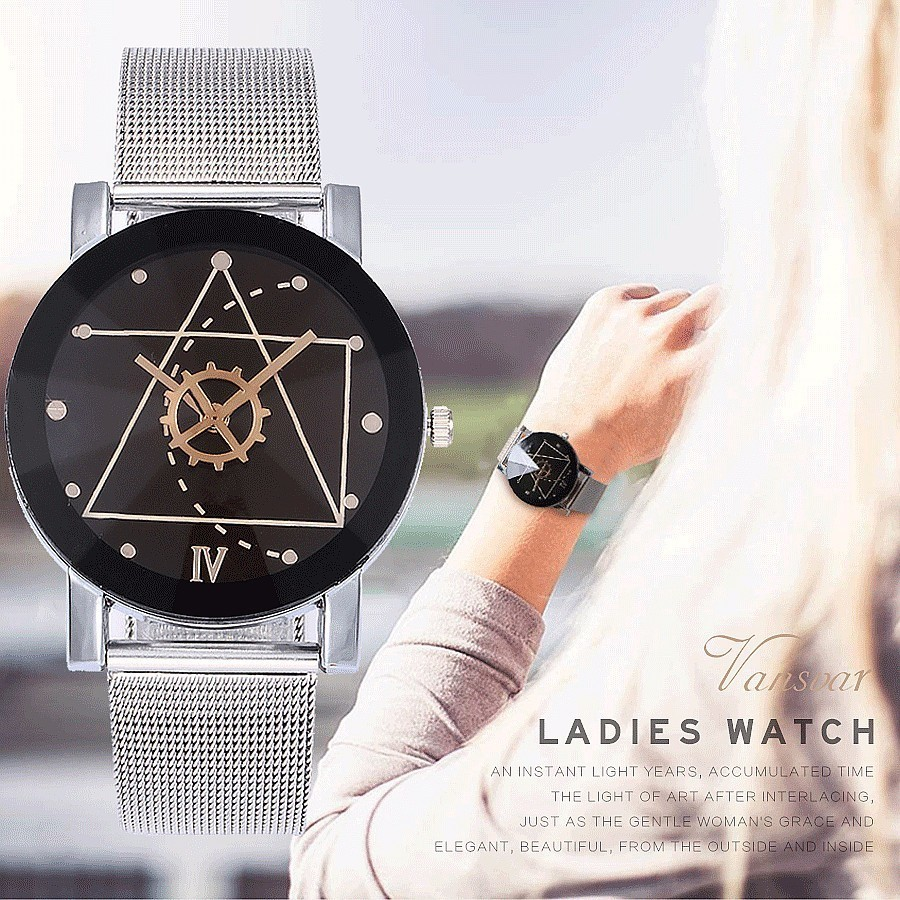 Vansvar Fashion Mesh Band Men Wrist Watches Women Stainless Steel Men's Watch Women's Watches Clock Reloj Homber Reloj Mujer