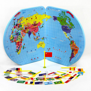 Wood toy wooden toy Wooden  educational toys puzzle national flag three-dimensional world map