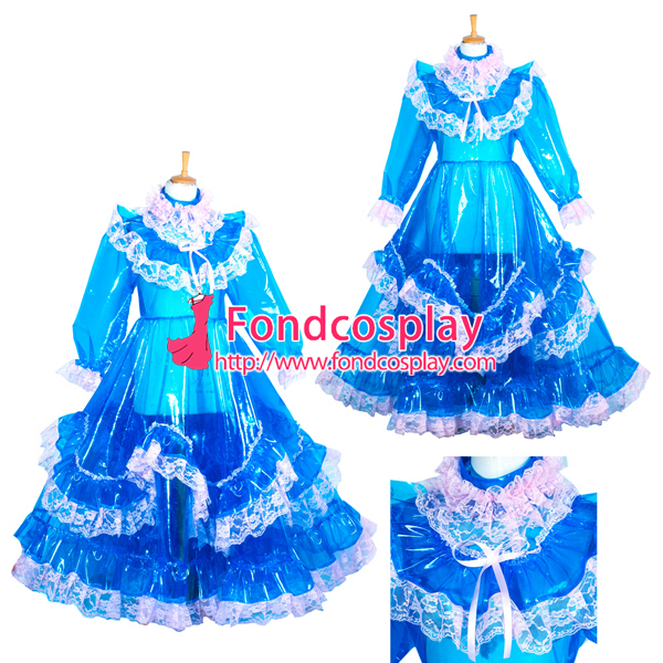 Запираемый eva Пластик Сисси горничной синий длинное платье CD/ТВ Сделанные на заказ [G3850]