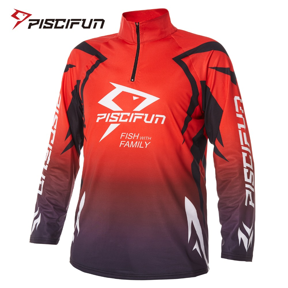 Piscifun Fishing Shirts UV Protection Quick Dry Long Sleeve Breathable Sport Clothing for Men Outdoor Hiking Cycling Camping