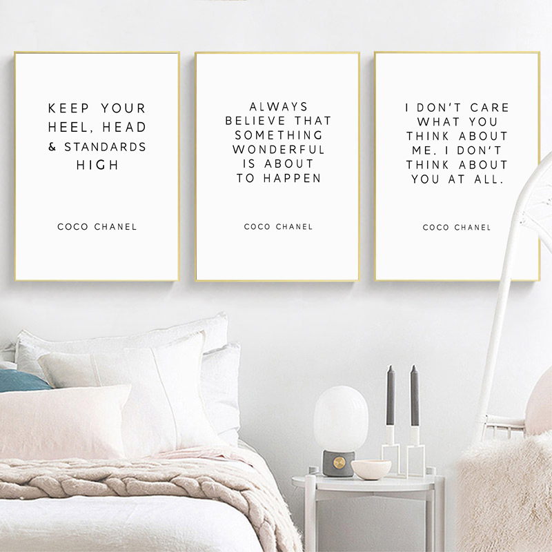 CoCo Quotes Posters Print Fashion Inspirational Saying Wall Art Canvas Painting Vogue Motivational Letters Pictures Home Decor