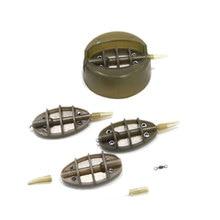 4Pcs/Set Method Flat Feeder Carp Fishing Feeder Tool For Fishing Inline with Mould Carp Lead Sinker Free Lead Pesca Trough