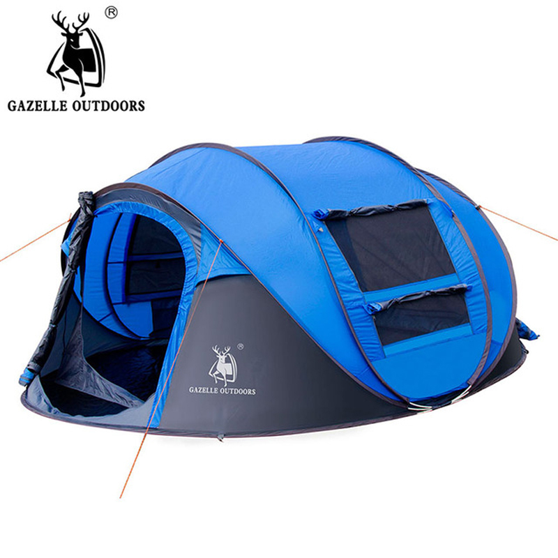 GAZELLE OUTDOORS camping tent Large space3-4persons automatic speed open throwing pop up windproof camping family tent gazelle outdoors зелёный цвет двойной