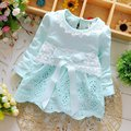 2016 Spring Long Sleeve Lace Bow Baby Party Birthday girls kids Children Cotton dresses, princess infant Dress Vestido #S2