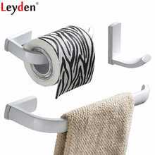 Leyden 3pcs Bathroom Accessories Set White Brass Wall Mounted Towel Ring Holder Toilet Paper Clothes Hook