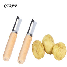 CTREE 1Pcs Vegetable Scraper Potato Peeler Quality Stainless Steel Peeling Knife Wood Handle Kitchen Frilts C275